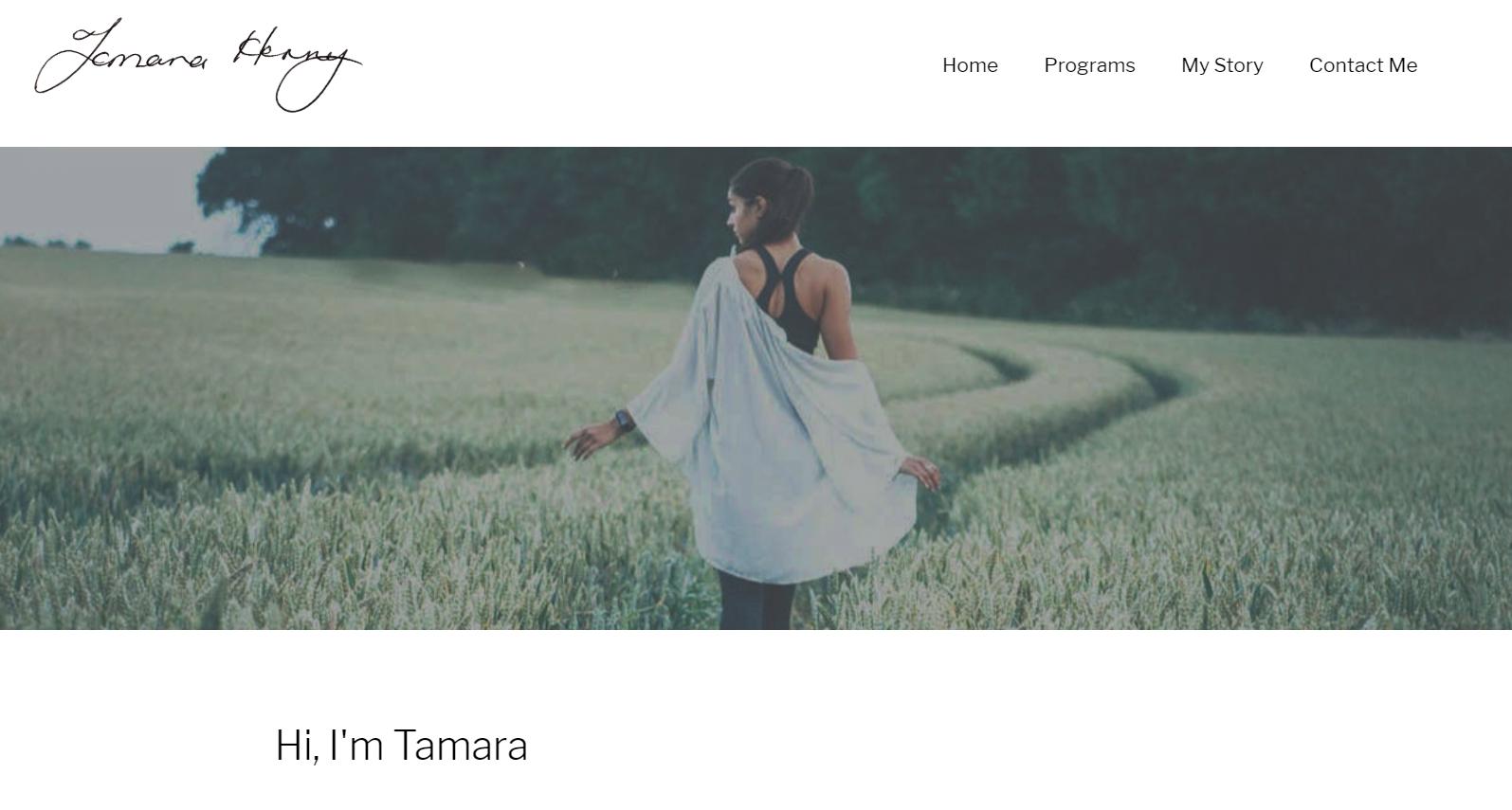 Screenshot of Tamara Henry website