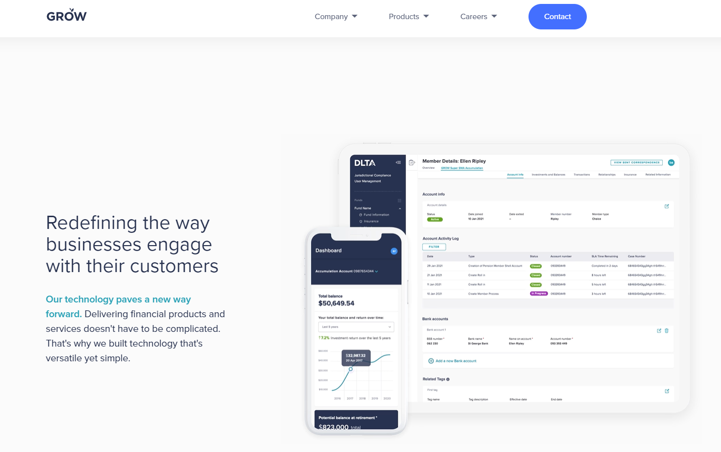 Screenshot of GROW Inc website