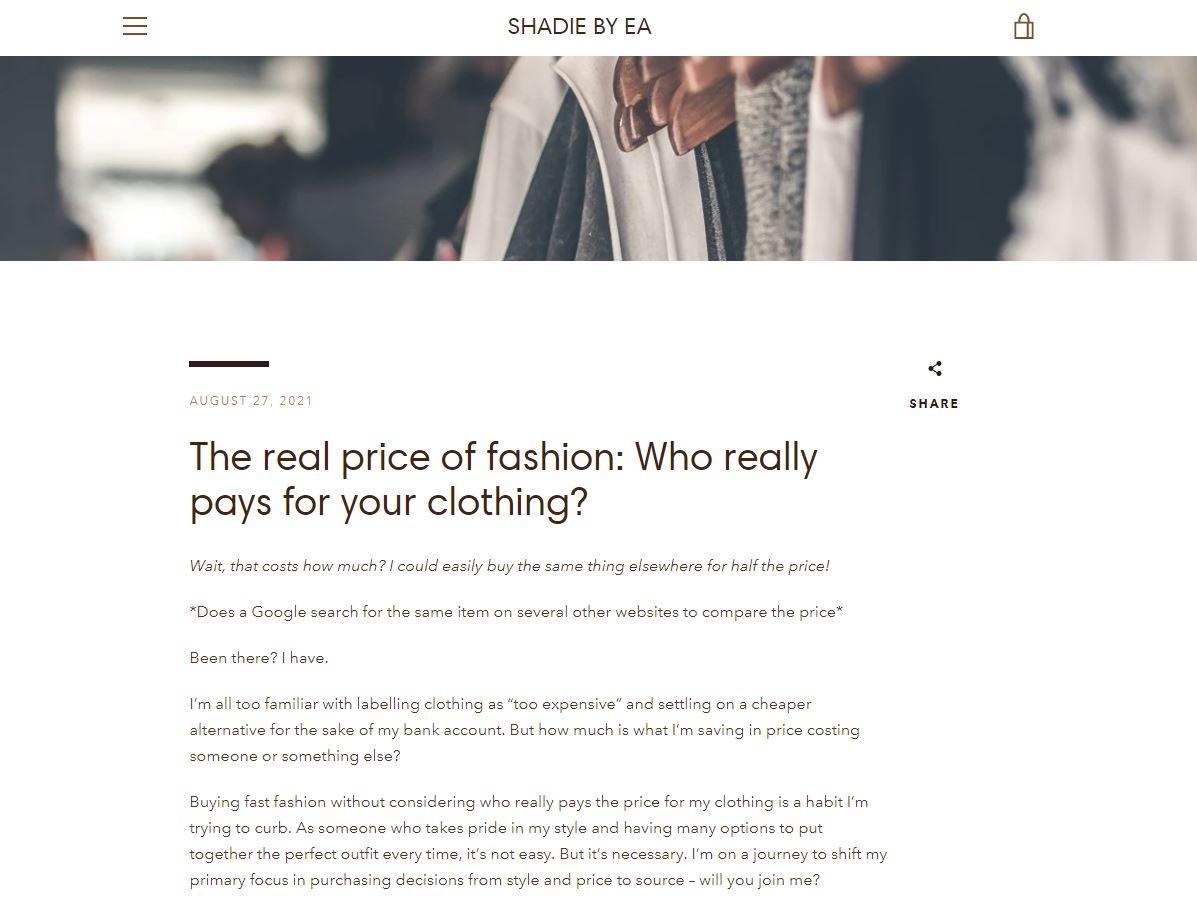 Screenshot of blog for SHADIE BYE EA
